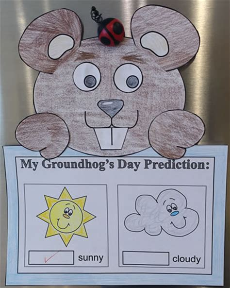 groundhog paper craft with predictions worksheet or 478 | groundhog paper craft