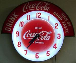 1940 s 50 s Coca cola Clock Neon lightup sign