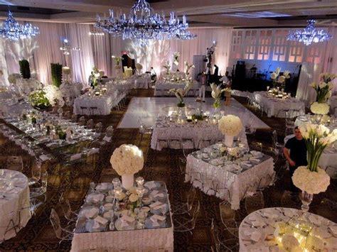 banquet setup   people  long   tables