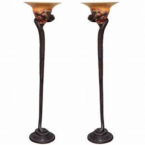 Pair of art deco style bronze and art glass snake form for Art deco floor lamp melbourne