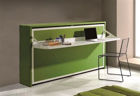 bureau intégré armoire lit transversale city avec bureau integre