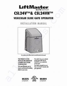 Chamberlain Liftmaster Csl24vh Switch Installation Manual