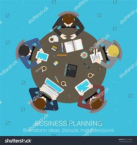 Business Planning Brainstorming Top View Concept Flat Icon