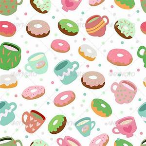 Cute Donuts and Cups Pattern | Blue cups, Donuts and Breakfast