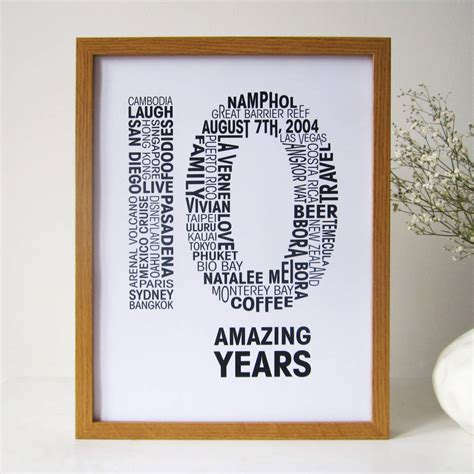10th anniversary gifts personalised anniversary print by mrs l cards notonthehighstreet com
