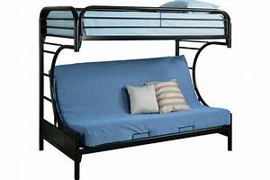 Black metal futon bunkbed boomerang kids futon bunk for Bunk bed with futon