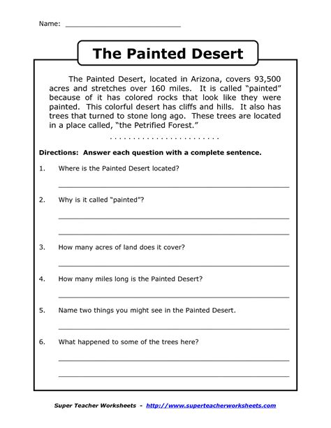 reading worksheets for 4th grade reading comprehension