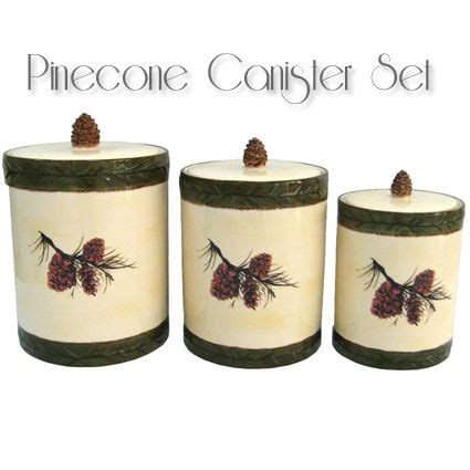 """3 Pc Pine Cone Canister Set Includes 1  9 14"""" High X 6"""