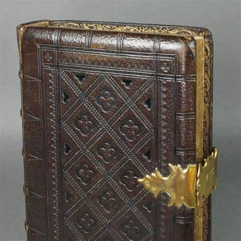 antique  century tooled leather bible book gilt clasp