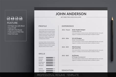 Popular Cv Templates by Resume Cv Resume Templates Creative Market