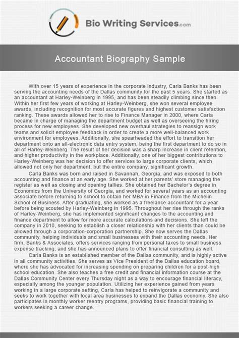 pin  michellegeorge  accountant biography sample