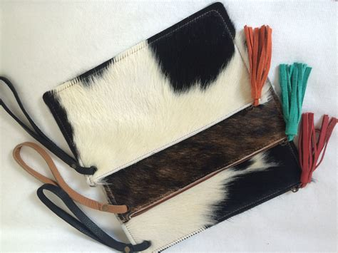Cowhide Clutch Unique Piece Cow Hide Handbag. Leather Bag