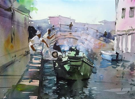 Builders And Barge Venice Original Watercolours By Tim
