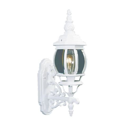 livex lighting providence wall mount 1 light white outdoor incandescent lantern 7520 03 the