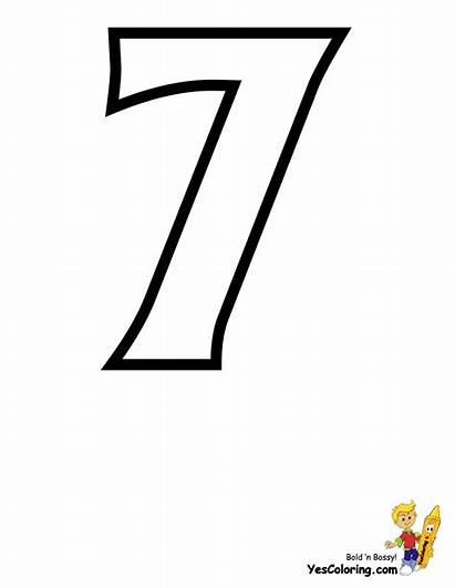 Coloring Number Numbers Letter Sheet Seven Printables