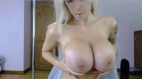 Sexy Blonde Stripper With Giant Boobs