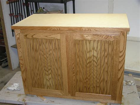 Handmade Oak And Oak Beadboard Kitchen Island By New