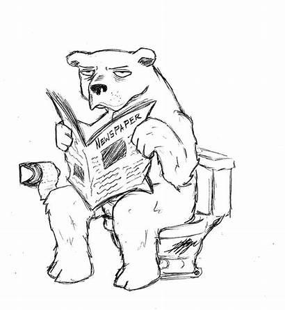 Funny Drawing Drawings Bear Reading Cartoon Crazy