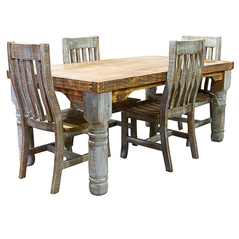 rough cut turquoise rustic dining room set
