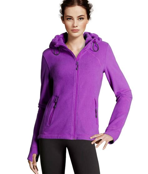 hooded striped trim jacket lyst h m fleece jacket in purple