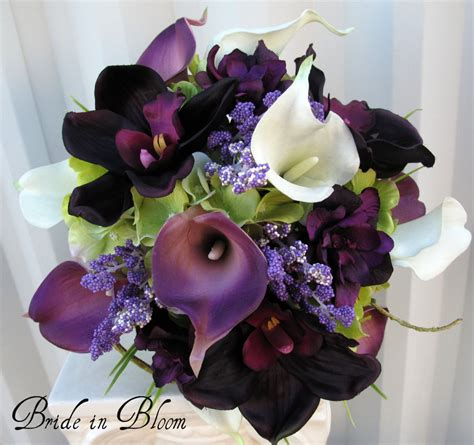 piece wedding bouquet set real touch purple white calla lily