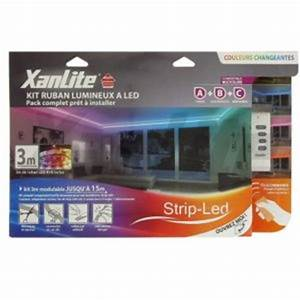 kit strip led 3m couleurs changeantes xanlite ref lsbk3rvb With carrelage adhesif salle de bain avec ruban led telecommande