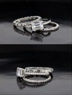 emerald cut engagement rings with stacking wedding bands