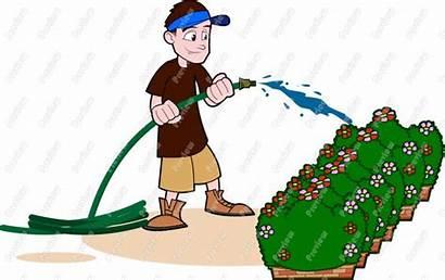 Watering Plants Clipart Clip Garden Flowers Hose