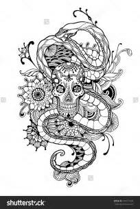 skull coloring book skull and snake coloring page vector illustration