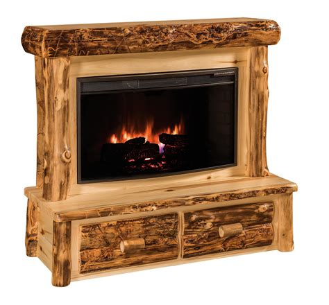 Amish Rustic Log Fireplace With Mantel