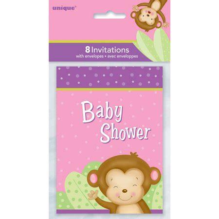 pink monkey baby shower invitations  count walmartcom
