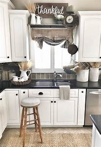 38 dreamiest farmhouse kitchen decor and design ideas to With best brand of paint for kitchen cabinets with french themed wall art