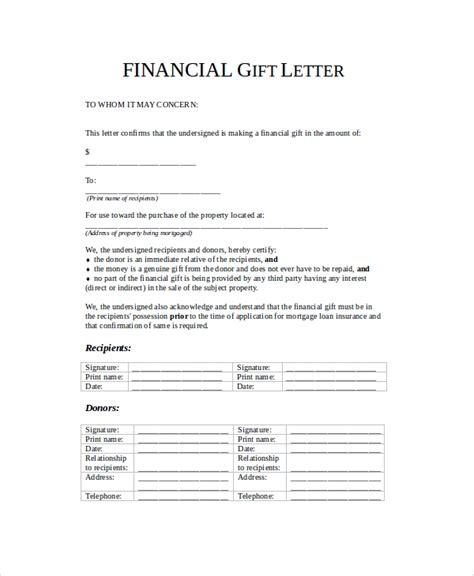 sample gift letters  word