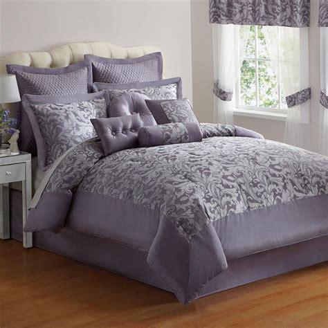 size comforter 10 pc purple silver jacquard king size comforter