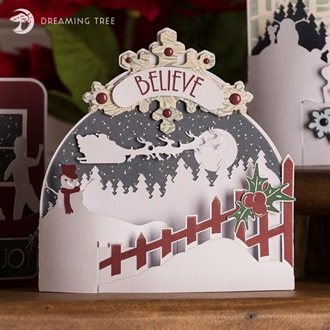 Card folds flat to fit into an envelope. Christmas Bendi Cards SVG Bundle - Dreaming Tree