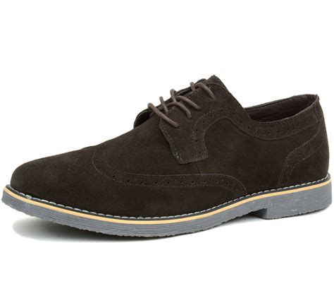 Mens Shoes by Alpine Swiss Beau Mens Dress Shoes Genuine Suede Wing Tip