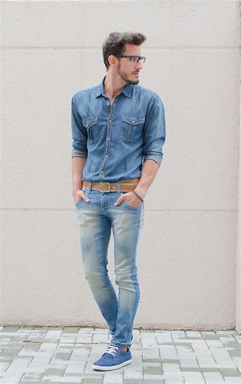 Menu0026#39;s Blue Denim Shirt Light Blue Skinny Jeans Blue Suede Derby Shoes Tan Leather Belt ...