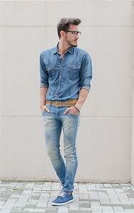 Menu0026#39;s Blue Denim Shirt Light Blue Skinny Jeans Blue Suede Derby Shoes Tan Leather Belt ...