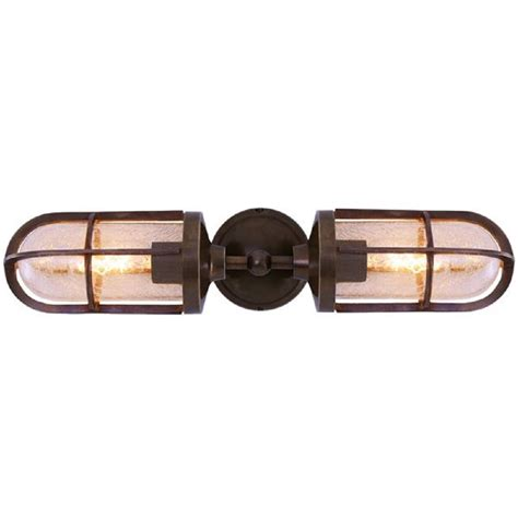 double caged wall light in antique industrial finish with