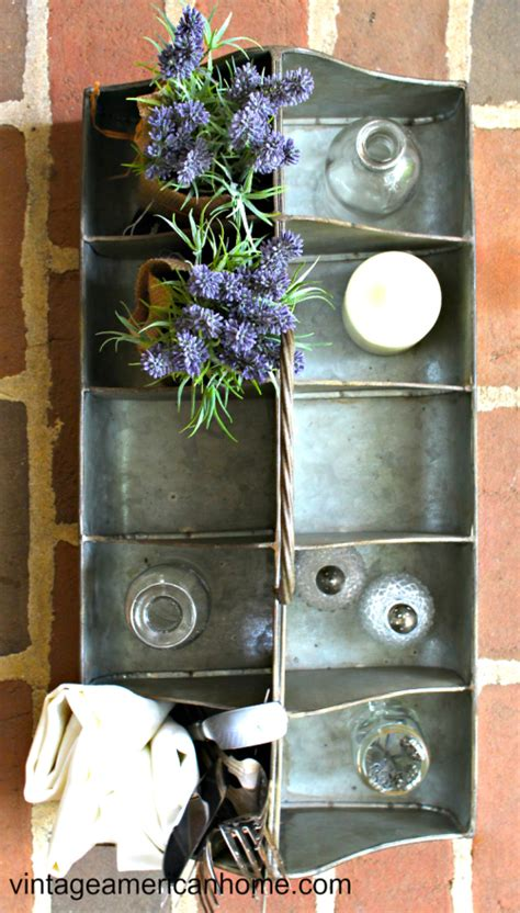 tin organizer   compartments vintage american home