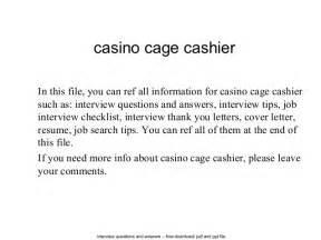 cage cashier skills resume casino cage cashier