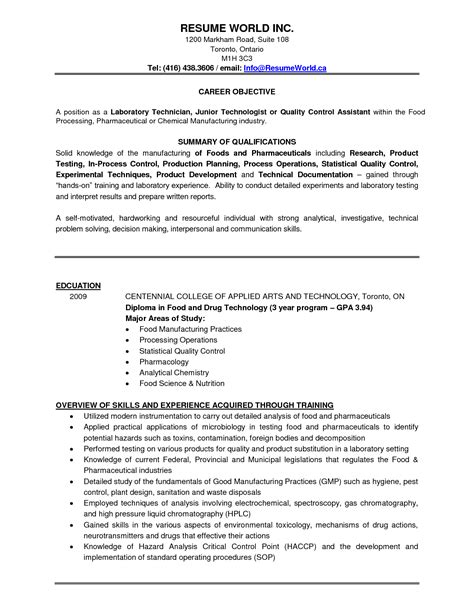 sle resume lab technician student resume template