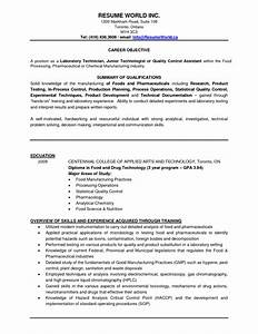 quality control in pharmaceutical industry resume resume With resume for quality control in food industry