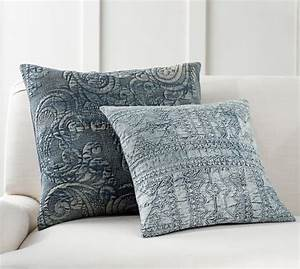 quilted denim pillow cover pottery barn With denim pillows pottery barn