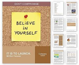 believe in yourself written on an yellow sticky note on a With bulletin board template word