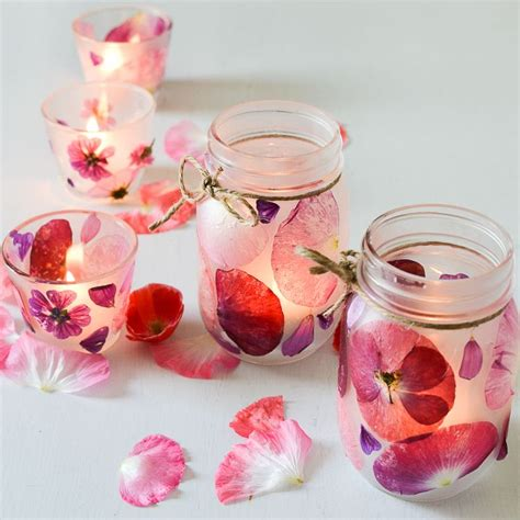 Glass Candle Holders Diy Perserving Jar Satine Paint by Flower Petal Candle Holders Photo Products Display