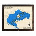 Diamond Lake, MI 3D Wood Topo Map