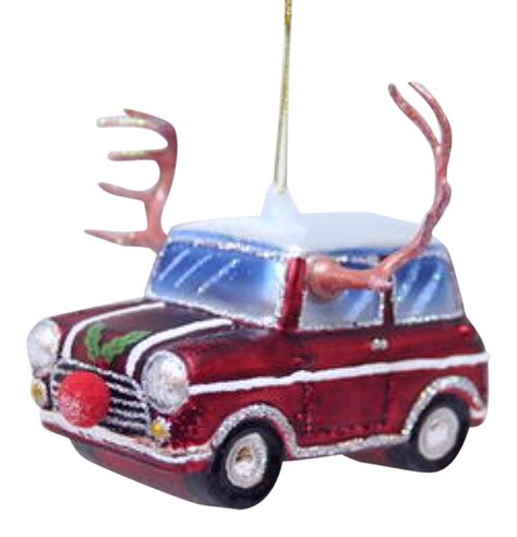 car with reindeer antlers and red nose glass christmas