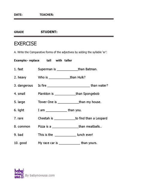best 25 comparative adjectives worksheet ideas on
