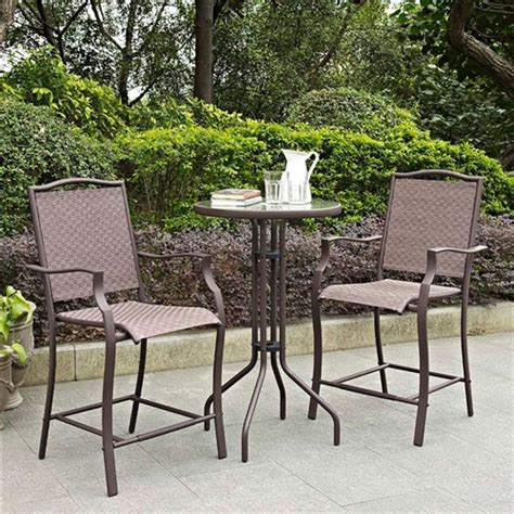 Outdoor 3piece Bar Height Patio Furniture Bistro Set With
